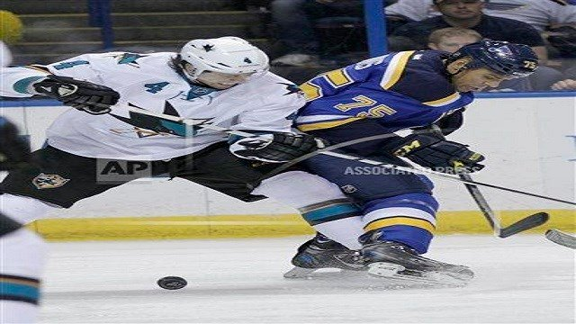 Ryan Reaves, Blues player, playing against the San Jose Sharks (Credit: KMOV).