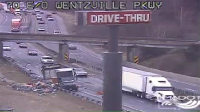 A semi-truck lost its contents of westbound I-70 at Wentzville Parkway Friday (Credit: MoDOT)