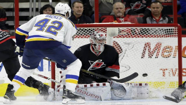 St. Louis Blues' David Backes (42) shoots and scores against Carolina Hurricanes goalie Cam Ward during the second period of an NHL hockey game in Raleigh, N.C., Sunday, Feb. 28, 2016. (AP Photo/Gerry Broome)