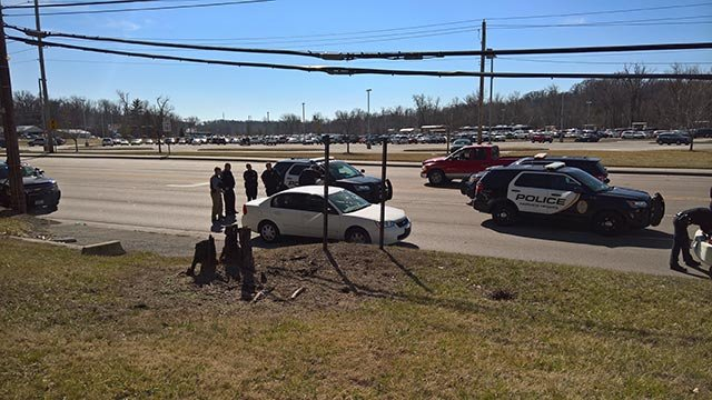 A heavy police presence was seen at the MetroLink station in Fairview Heights Monday (Credit: Drew Mitchell / KMOV)