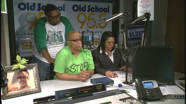 Two mothers, Erica Jones & Wanda Merill, recorded anti-violence PSA's in the studios of Radio One (Credit: KMOV).