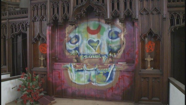 Vandals Leave Possible Satanic Symbols In Historic Church Cbs46 News