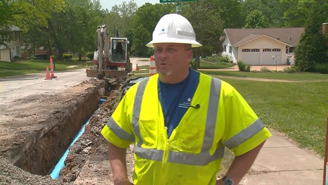 Missouri American Water makes water main repairs in Ballwin, Mo.