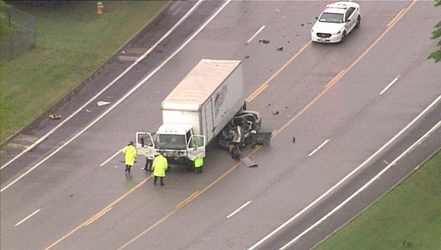 All lanes of Telegraph Road are closed near Denacre Drive in South County due to this accident involving a box truck. (Credit: KMOV)