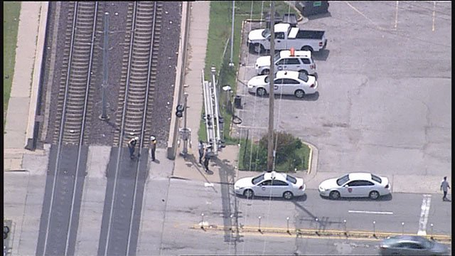 (Credit: Two people on the MetroLink were injured when a vehicle crashes into it Thursday in East St. Louis.