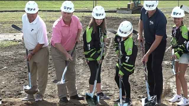 Members of the Blues organization on youth hockey players at the groundbreaking of their new practice facility in Maryland Heights. Credit: KMOV