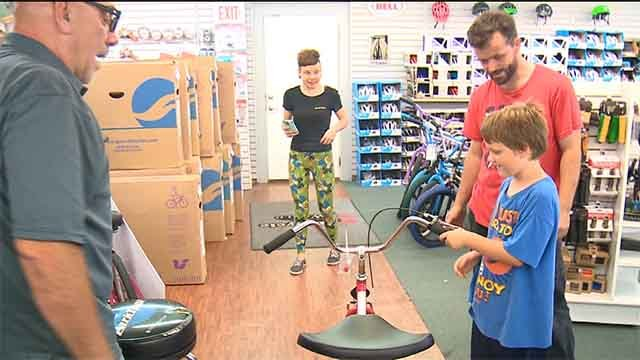 A new bike for Don Richardson Jr. was presented with a new bike by Bicylce World. Credit: KMOV