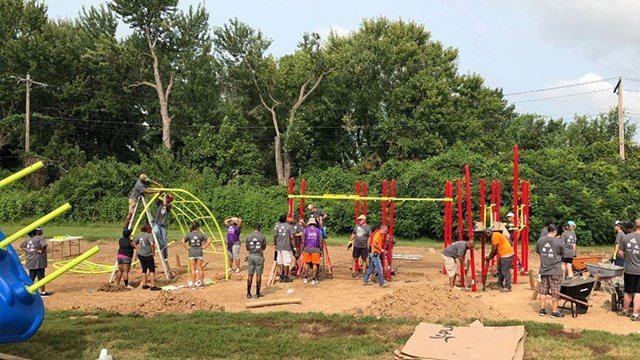 Volunteers gathered Saturday to build a playground, in just six hours,for students at a local elementary school North County ( Credit: Riverview School District)