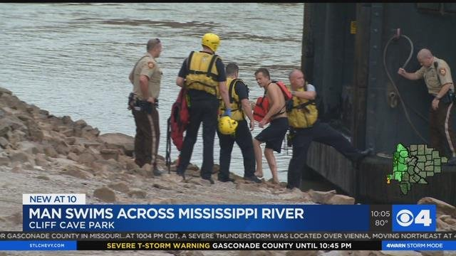 Rescue crews saved a swimmer who swam across the Mississippi River Sunday (Credit: KMOV)