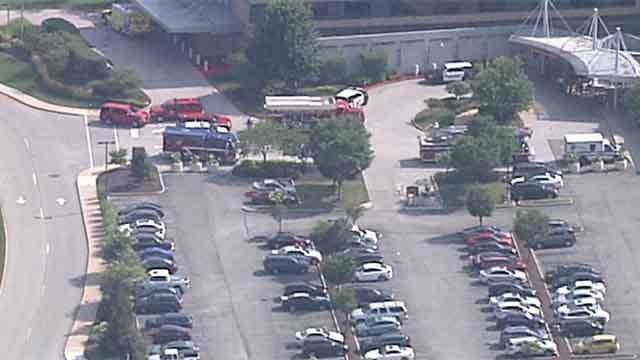 Hazmat crews at Missouri Baptist Medical Center. Credit: KMOV